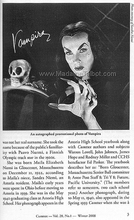 Autographed Promotional Photo of Vampira