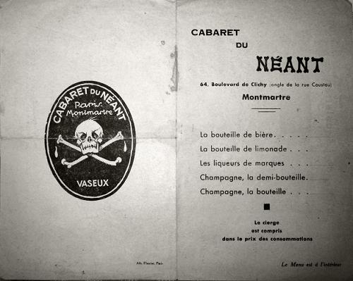 Cabaret du Néant Menu