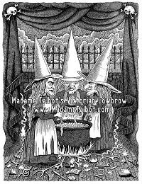 Mabeth Witches Crones Victorian Lowbrow Dark Art