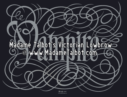 Silver and Black Vampire Calligraphy Poster